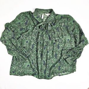 Lucky Brand Ruffle Floral Print Blouse